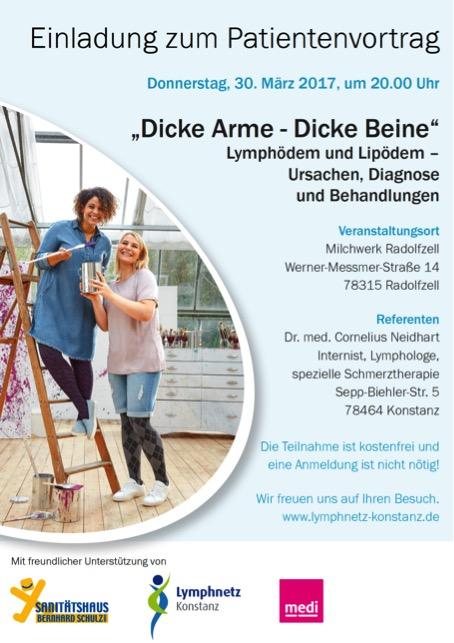 Plakat Patientenvortrag Lymphödem und Lipödem in Radolfzell